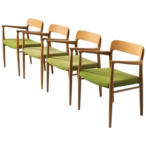 Green Fabric Dining Room Chairs Niels O Moller Set Of Four Dining Chairs In Oak And Green