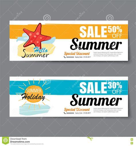 summer sale voucher template discount coupon banner hand