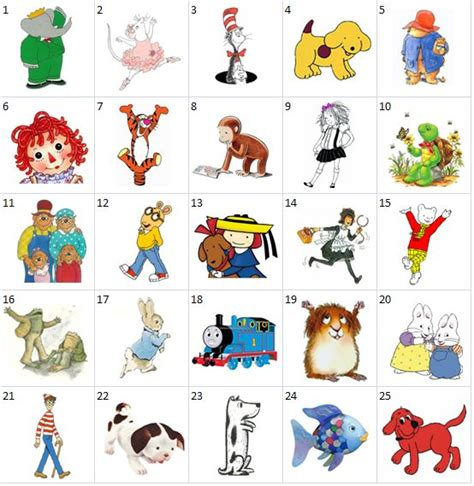 can you name the popular children's book characters shown