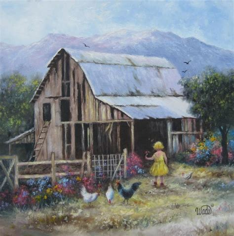 country farm paintings with barn blond barn original painting 18x18 country landscape