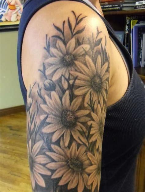 black and grey daisy tattoos 40 beautiful daisy tattoos on shoulder