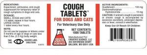 cough tabs for dogs cough tabs for dogs and cats creative science llc veterinary package insert