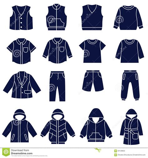 a for all time clothes icon set of types of clothes for boys and teenagers stock