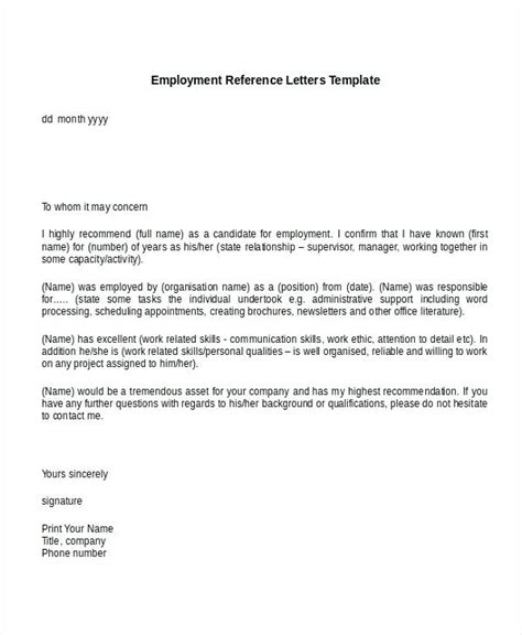 letter of recommendation from employer employment reference letter bravebtr 1419