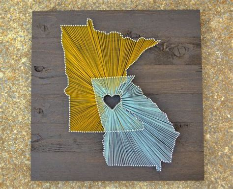 String States - two state string on 21 quot x21 quot stained wood customizable