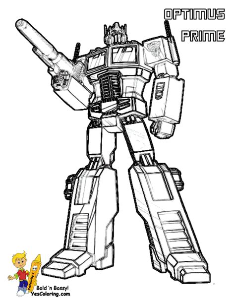 Tenacious Transformers Coloring Page Yescoloring Free Optimus Prime Coloring Pages To Print