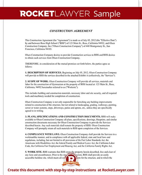Agreement Letter For Building Construction Contract Template Construction Agreement Form