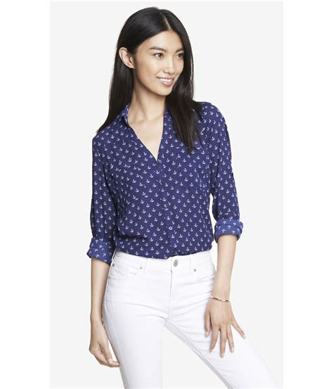 express anchor print convertible sleeve portofino shirt in