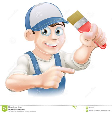 painter decorator pointing royalty free stock photo