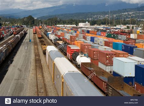 Garden City Terminal Tracking by Freight Cars In Canadian Pacific Rail Yard In Port