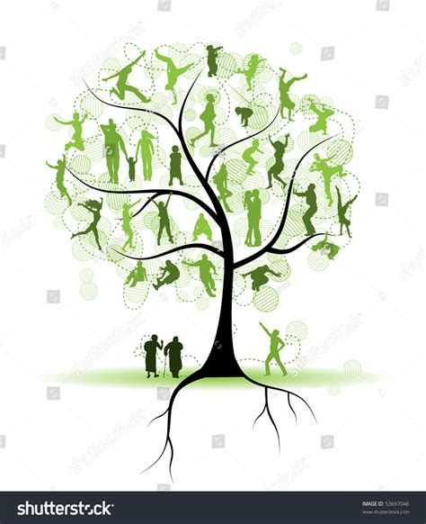 Family Tree Relatives People Silhouettes Stock Vector 53697046 Shutterstock Family Tree Stock Vectors Vector Clip