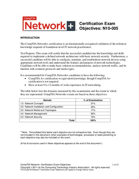 Comptia Work Experience Letter Exle Comptia Network Objectives