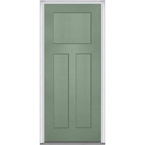Exterior Door Panel Mmi Door 36 In X 80 In Left Inswing Craftsman 3 Panel Shaker Classic Primed Fiberglass