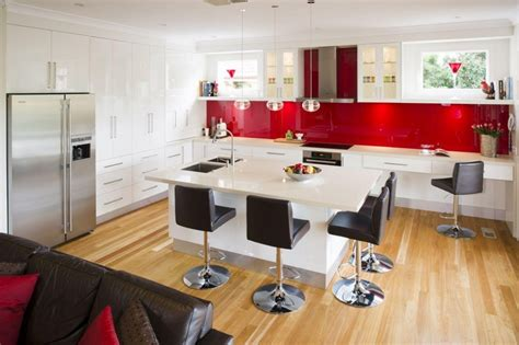 make the kitchen backsplash more beautiful black white and red kitchen design freshouz com