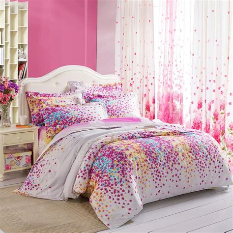 girls queen size bedding purple white yellow and blue lilac floral print full