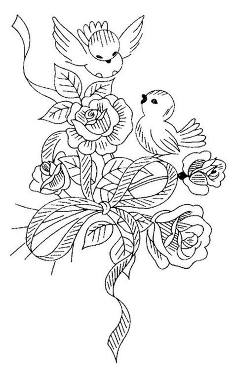 rose pattern line drawing love bird bouquet embroidery pattern coloring