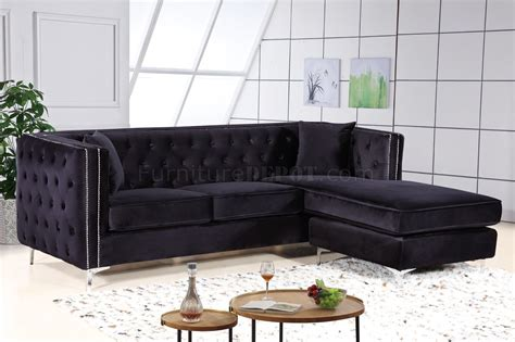 Velvet Sectional Couches by Sectional Sofa 668 In Black Velvet Fabric By Meridian