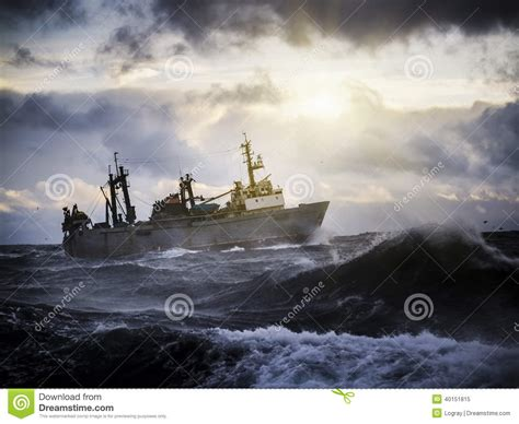 fishing ship in storm fishing ship in strong storm stock photo image 40151815