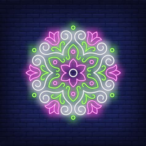 beautiful  floral mandala neon sign vector