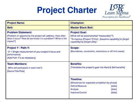 project charter template free charter images