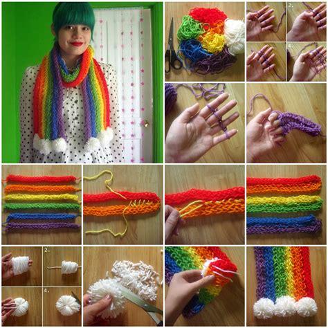 knitting diy wonderful diy colorful finger knitting scarf