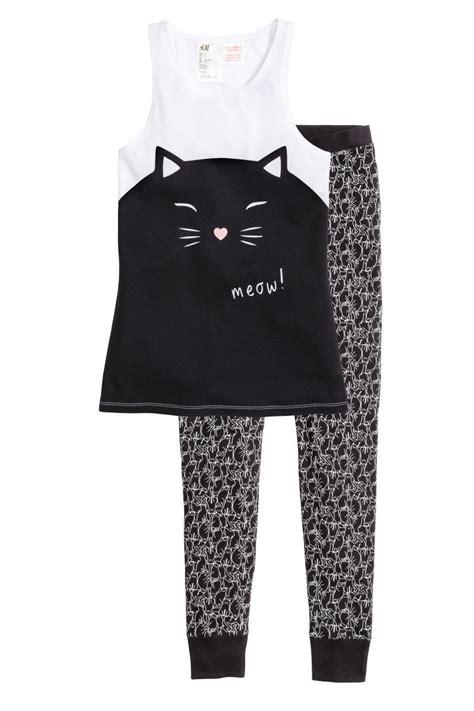 Hm Set Hk Sleepwear pajamas with top and black cat sale h m us
