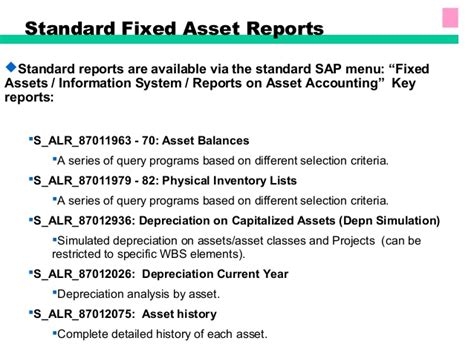 Fixed Asset Management Mba Project Report by Sap Fixed Assets Accounting