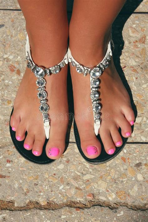 beautiful foots  young woman stock photo image