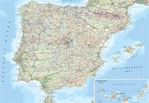 map spain detailed physical map of spain spain detailed physical map vidiani maps of all