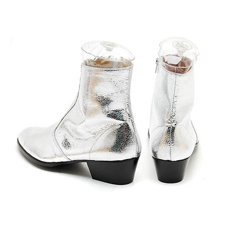 mens glitter silver western zipper mid calf ankle boots