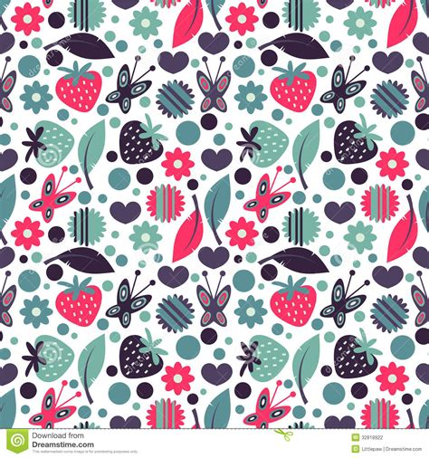 pattern nature colorful seamless pattern with nature elements stock vector
