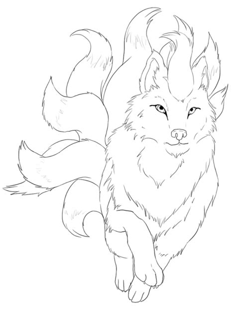 pokemon coloring pages ninetales ninetales lineart by 11h on deviantart