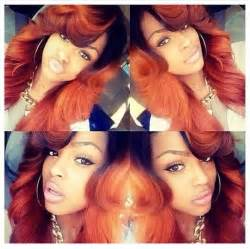 colored sew in orange caramel brown dyed sew in weave hairstyle