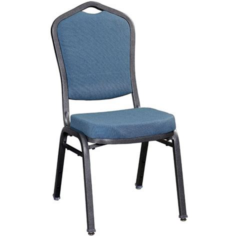 Premium Chairs by Premium Metal Stack Chair With Blue 2162 Fabric