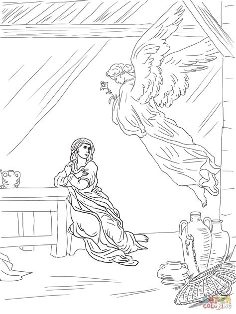 coloring page of angel visiting mary angel gabriel visits mary coloring page supercoloring com