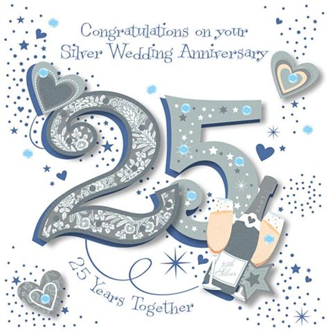 25th Wedding Anniversary Card And In by Handmade Silver 25th Wedding Anniversary Greeting Card