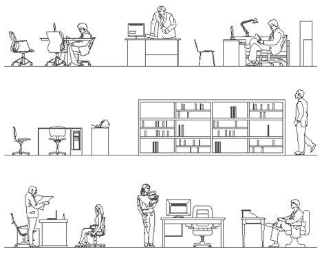 dwg scrivania sezioni prospetto uffici dwg persone in ufficio