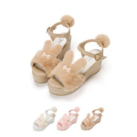 Sandal Rabbit White japanese rabbit plush sandal platform wedges