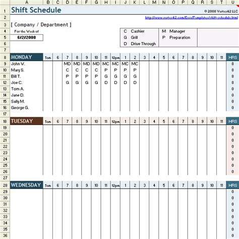 Free Employee Shift Schedule Template For Excel Retail Employee Schedule Template