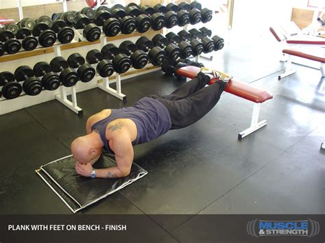 plank with feet on bench plank with feet on bench video exercise guide tips