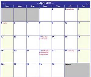 2015 monthly calendar template with holidays calendar 2015 printable april 2015 calendar printable