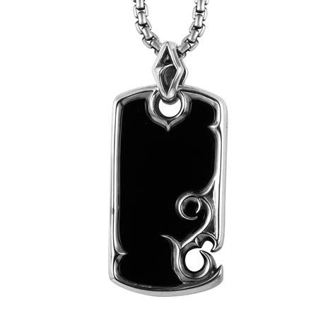stephen webster mens sterling silver onyx tag pendant