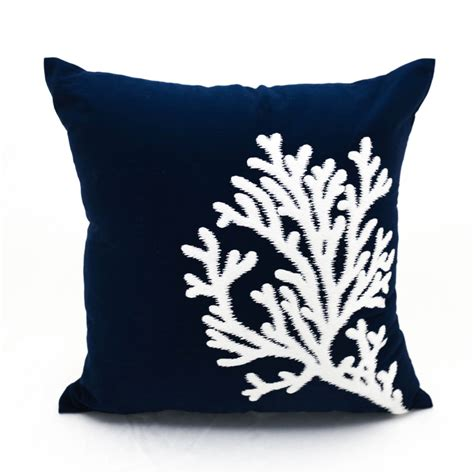 Navy Blue Pillow Cases by Coral Pillow Navy Blue Linen White Coral