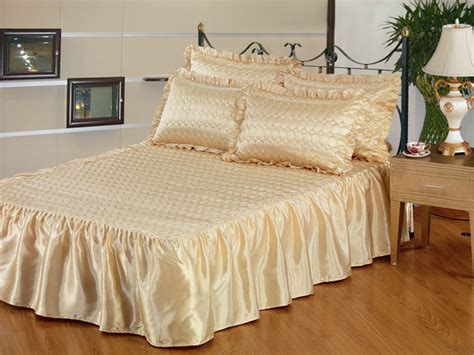 Satin Bedspreads Ruby Satin Quilted Bedspread Pillow Sham Set King Gold