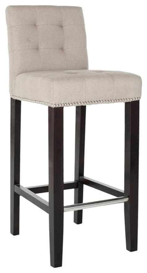 linen nailhead bar stools noho beige linen nailhead trim bar stool contemporary