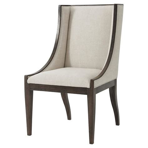 theodore side chairs theodore englewood oatmeal linen wingback dining