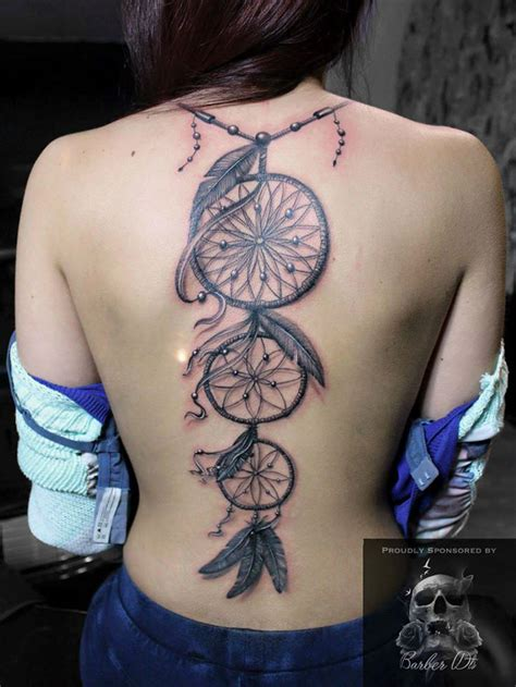 dreamcatcher tattoo down back dreamcatchers on girls back best tattoo design ideas