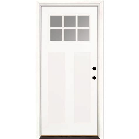 Prehung Fiberglass Exterior Doors Feather River Doors 37 5 In X 81 625 In 6 Lite Clear Craftsman Unfinished Smooth Left