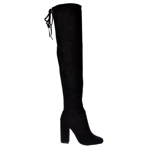 black suede boots high heel shoekandi the knee thigh high block heel suede boot