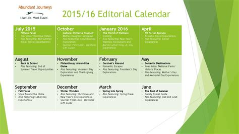 Editorial Calendar Docs 2015 16 Abundant Journeys Editorial Calendar By